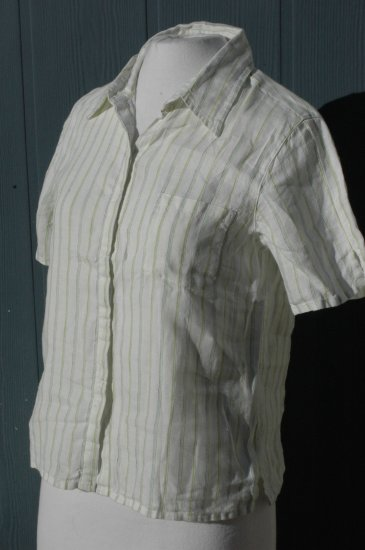 CHICO's White, green & blue pinstripe LINEN Blouse Top - Size 0