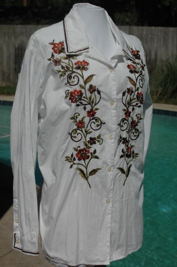 COLDWATER CREEK White Thistle EMBROIDERED Blouse - Size Large