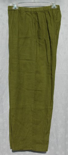 FLAX Vibrant Olive Green Linen Full Leg Cropped Pants - Size Small