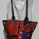 CHICOS Vibrant Silk & Leather Embroidered purse tote