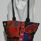 CHICOS Vibrant Silk & Leather Embroidered purse tote