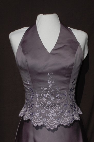 MORI LEE Purple EMBROIDERED 2 Pc. Prom Pageant Halter Skirt Top DRESS & Wrap - Size 7/8