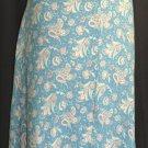 LANDS END Blue Floral SILK Skirt - Size 16