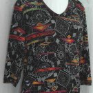CHICO'S DESIGN Vibrant Beaded 3/4 sleeve stretch V Neck Top - Chico's Size 1 Small