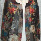CHICO'S Semi-Sheer SILK Asian Design Open Jacket - Chico's Size 1