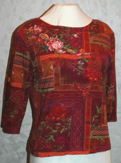 COLDWATER CREEK 3/4 sleeve Cotton sequin embroidered T-shirt - Size Small S