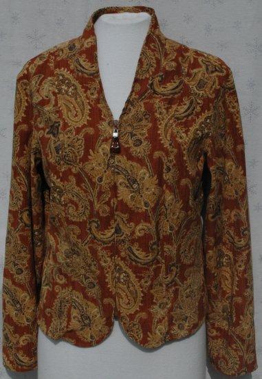 COLDWATER CREEK Zipper Front Paisley Jacket - Size Medium M