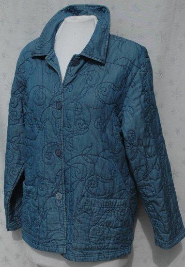 COLDWATER CREEK Quilted Denim Blue Button Jacket - Size Medium M