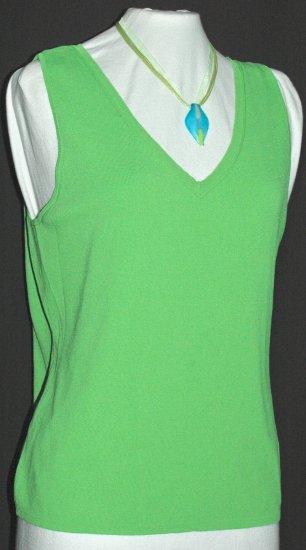 CHICO'S Vibrant Green V neck Tank top - Chico's Size 2