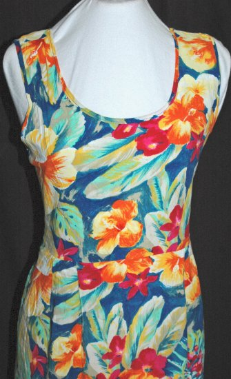 JAMS WORLD Vibrant Empire Waist HIBISCUS Dress - LARGE