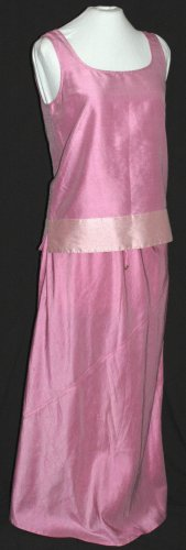 DANA BUCHMAN 2 Piece Skirt & Tank Top PINK RAW SILK Set Outfit - Size Small