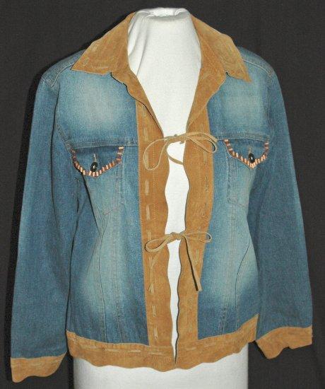 CHICO'S DESIGN Stretch Denim & Leather Tie Front Beaded Jacket Coat Blazer - Chico's Size 0