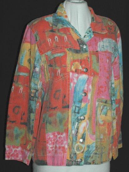 CHICO's DESIGN Vibrant watercolor Jeans Jacket - Chicos Size 0