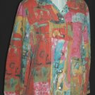 CHICO's DESIGN Vibrant watercolor Jeans Jacket - Chicos Size 0
