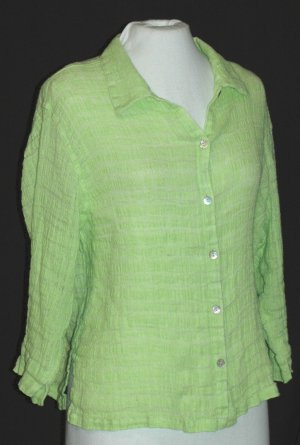 CHICO�S vibrant green LINEN blouse Chico's size 3 Large
