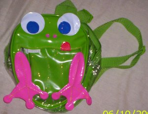 ADORABLE little girls frog backpack purse