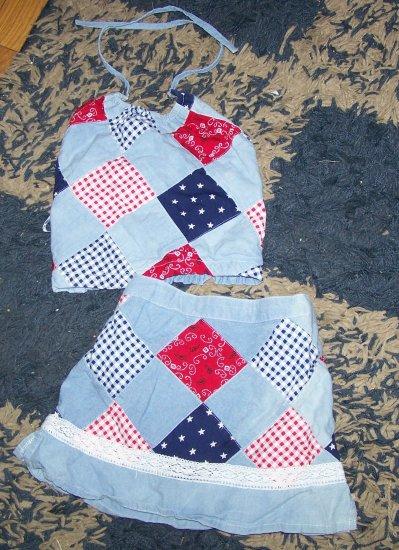 LN girls 3T Childrens Place patriotic set halter/skirt