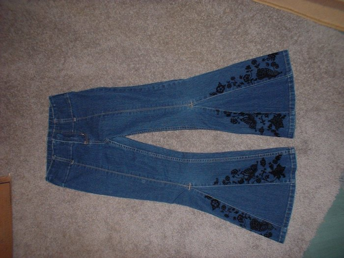 Girls' Size 8 Flare Blue Jeans Velvet Butterflys and Flowers  ***SHIPPING IS INCLUDED!!***