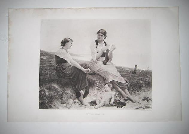 "'By the Seaside"" by Delobbe ANTIQUE GRAVURE FROM the 1880's"