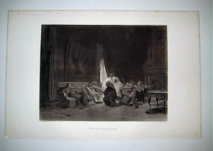 "'The Missionary's Story"" by J.G.Vibert , Antique Gravure from 1880's"