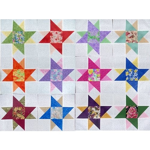Scrappy Floral Quilt Top Blocks