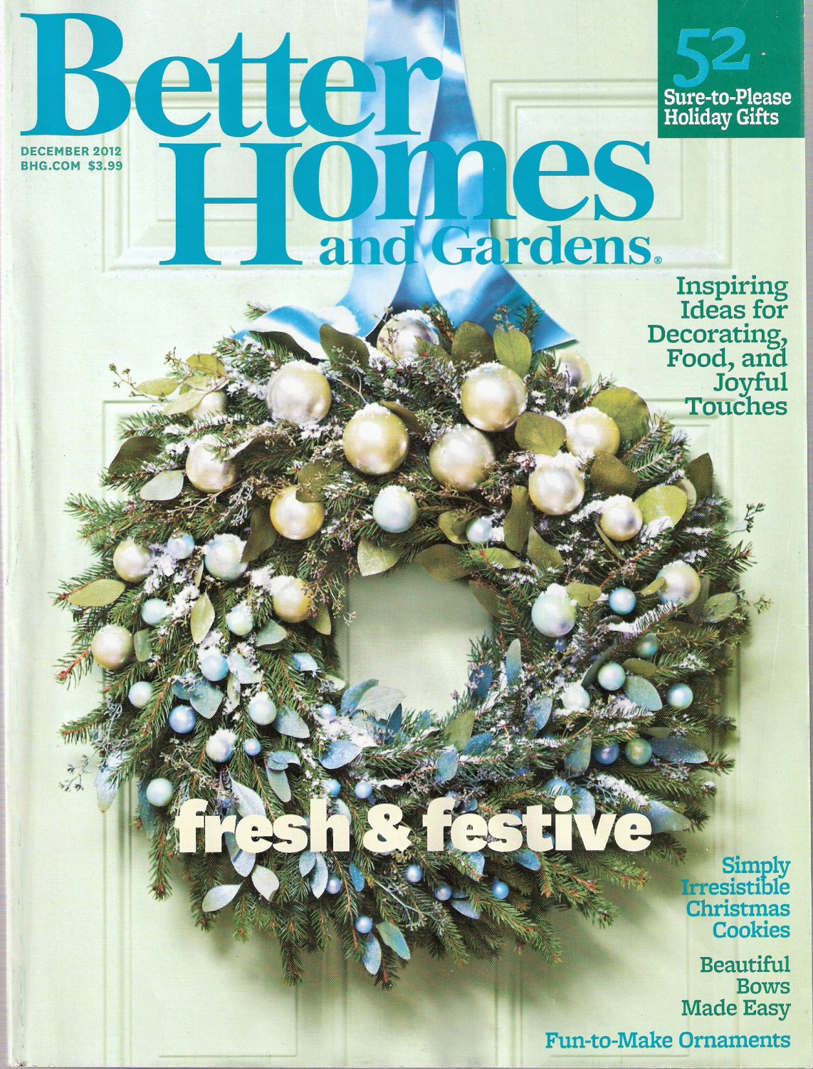 Better Homes and Gardens Magazine December 2012 Fresh and Festive