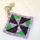 Windmill Purple Quilt Block Key Chain