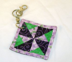 Windmill Purple Quilt Block Key Chain