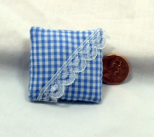 Blue Gingham Pillow 1:12 Dollhouse Miniature