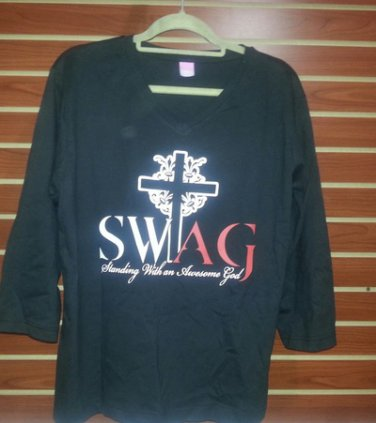 Ladies' 3/4 Sleeved T-Shirt (Standing with an Awesome God) SWAG
