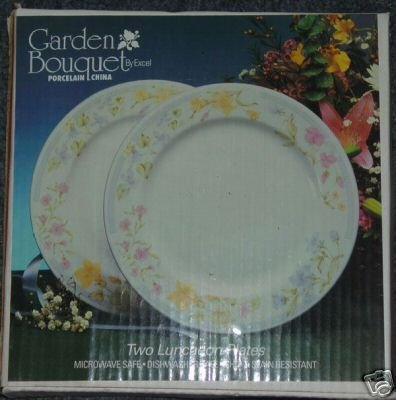 Excel Garden Bouquet 2 Luncheon Plates NIB