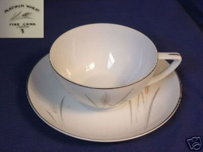 Fine China of Japan Platinum Wheat 5 Cup & Saucer Sets