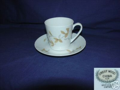 Crest Wood China Monticello Pattern 4 Cup Saucer Sets