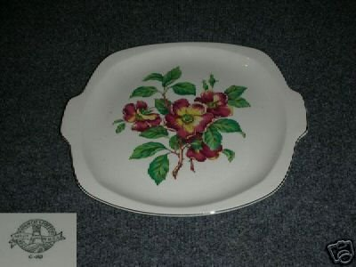 Paden City Rosewood 1 Handled Cake Plate