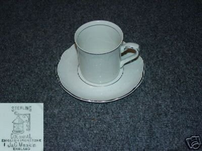 J & G Meakin Silver Baroque 5 Cup and Saucer Sets