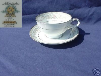 Noritake Edgewood 4 Cup and Saucer Sets - MINT