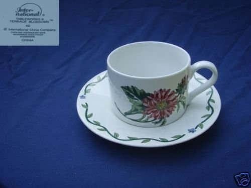 International Tablework Terrace Blossoms 4 Cup Saucers