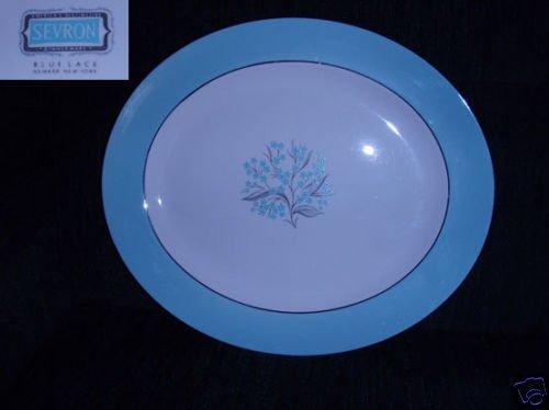 "Sevron Blue Lace 1 Oval Serving Platter - 15 1/4"""