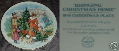Avon Bringing Christmas Home 1990 Collector Plate