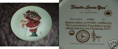 Santa Loves You 1977 Christmas Collector Plate