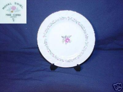Fine China of Japan Royal Swirl 4 Bread Plates
