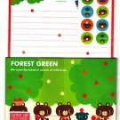 Japan-made Forest Green Letter Set with Stickers