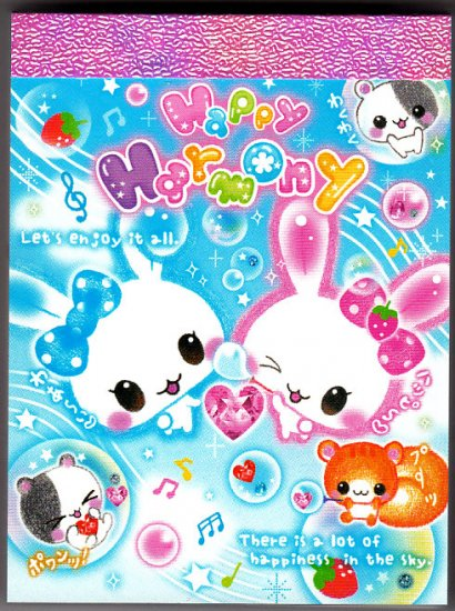 Q-Lia Japan Happy Harmony Bunnies Mini Memo Pad