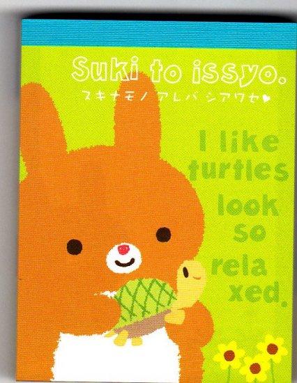 San-X Japan Suki to issyo Rabbit Mini Memo Pad Kawaii