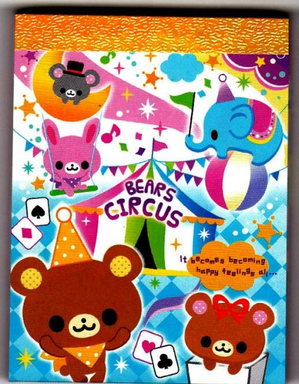 Q-Lia Japan Bears Circus Mini Memo Pad Kawaii