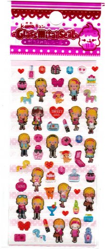 Lemon Japan Sweet Girls Sticker Sheet Kawaii