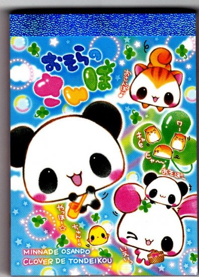 Kamio Japan Panda Clover Friends Mini Memo Pad Kawaii