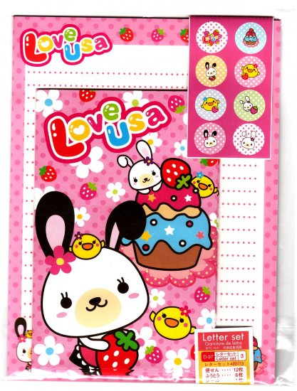 Daiso Japan Love Usa Letter Set with Stickers Kawaii