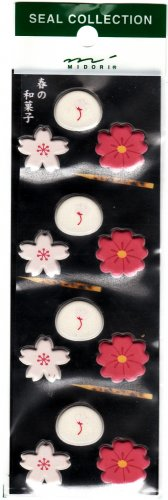 Midori Japan Sakura and Mochi Puffy Sticker Sheet Kawaii