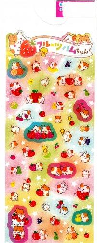 Kamio Japan Hamster and Strawberry Sticker Sheet Kawaii